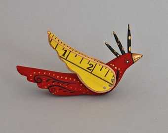 Red Baby Bird-  carved and recycled wood