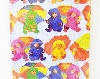 Vintage baby in rain coat and umbrella american greetings gift wrap two sheet sealed