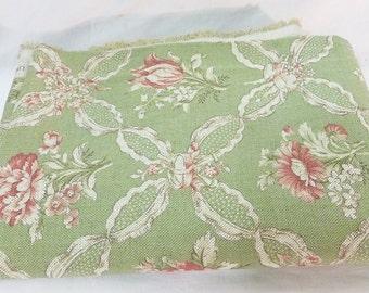 P Kaufmann fabric vat color floral mint green soil stain repellent USA
