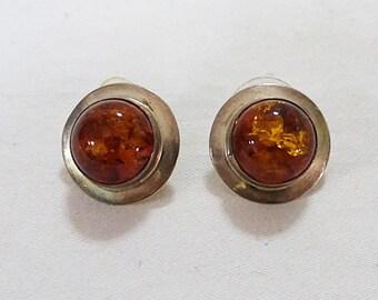 Vintage amber round stud earrings stamped sterling orange