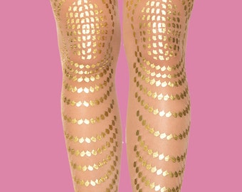 Christmas sale, Christmas gift Tattoo tights Goldfish model, available in S-M L-XL XXXL