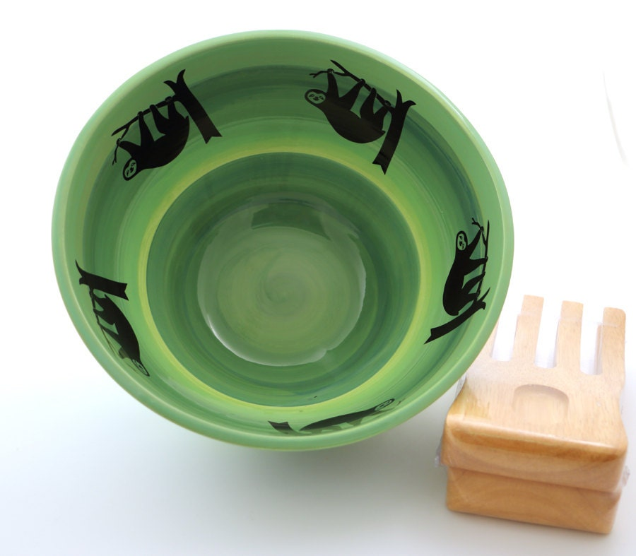Zombie Knitting Bowl : Large ceramic salad bowl sloths and wooden