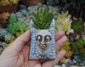 ceramic wall planter, miniature succulent wall pocket, garden art