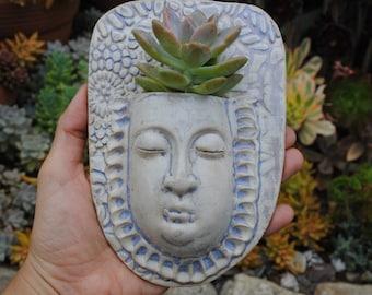 ceramic face planter garden art mask wall planter buddha wall pocket