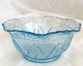 Vintage Light Blue Depression Glass Bowl