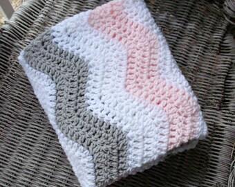 Crochet Chevron Blanket Pink and Gray Crochet Baby Blanket, Gray and Pink Nursery, Pink Nursery Bedding, Pink Gray Nursery