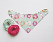 Donuts baby bandana bib teething drool pink sprinkles pom pom bibdana