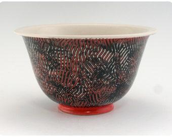 Porcelain Bowl With Crosshatching Design   Ceramics Pottery