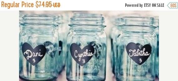 Buy 2 Get 1 FREE- 200 Heart Chalkboard Mason Jar Labels-DIY Mason Jars and Wedding Favors-FREE Shipping, Heart Chalkboard Stickers
