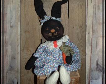 MarchSALE Primitive folk art rabbit rag doll wired ears hand embroidered face HAFAIR OFG cloth carrot