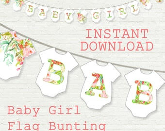 Baby girl floral flag bunting, printable instant download, banner for nursery or baby shower, pink flowers, bodysuit baby girl flag bunting