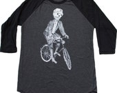 Sugar Skull Skeleton on a Bicycle | Screen printed men's tee