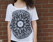 Mandala Bicycle Wheel -Slouchy White Ladies Tee
