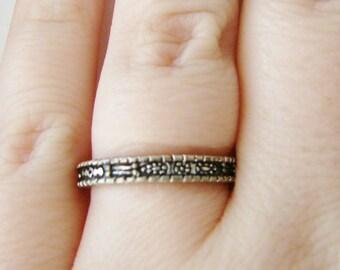 Vintage silver flower ring- size 6.5