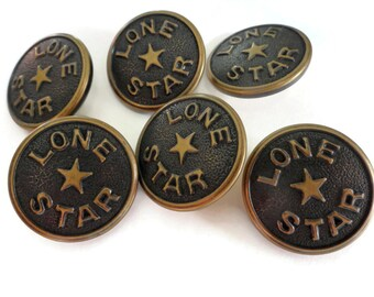 Lone Star Vintage Buttons - 6 Gold Metal Blazer Buttons with Antique Patina 7/8 inch 22mm for Jewelry Supplies Beads Sewing Knitting