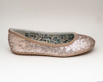 Sequin | Champagne Light Gold Sparkly Sequin Ballet Flats Shoes