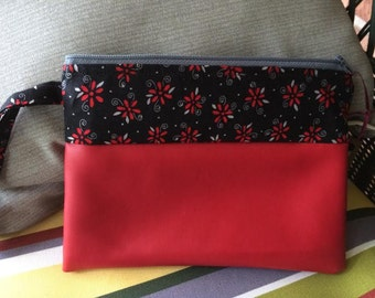 Red Flowers, flowers,  Zippered Wristlet Pouch, zippered pouch, red faux leather