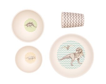 Bamboo Dinnerware - T-Rex Supper - (FDA & LFGB food safe approved)