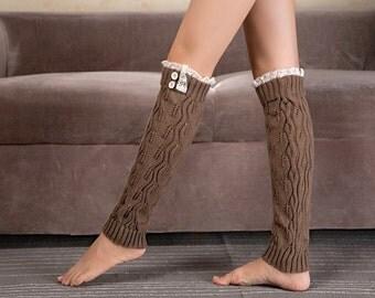 Ready to ship - Trendy Women's Light Brown Knit Button Lace Trim Leaf Leg Warmer- boot socks - Women Leg Warmers - Light Brown Leg Warmers