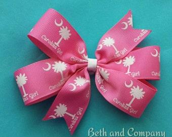 "1""  Pink Grosgrain  Carolina Girl Hairbow"