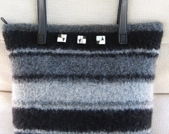 Black and Gray Striped Purse Wool Hand Knitted Felted Custom Lined