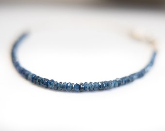 Fine Jewelry Sapphire Silver Chain Bracelet Blue Sapphire Jewelry Ombre Bracelet September Birthstone Stone Bead Gift for Her Mom Mothers