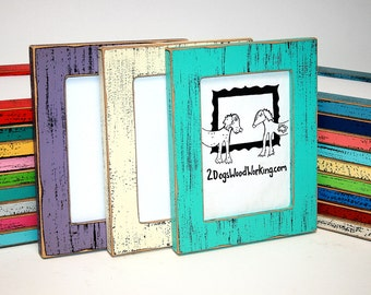 Picture Frame 8x8 or 8x10 Colored barnwood frame, Square distressed picture photo frame, Colorful Distressed Weathered frame, choose color