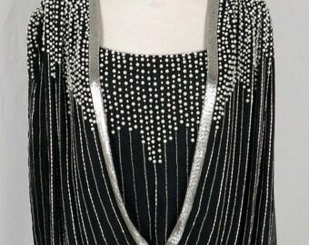 Lillie Rubin Black Silk Beaded Dress