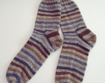 Hand Knit Self Striping Women's Socks, Size 8-10 in Wool and Nylon, Beige, Light Brown, Navy, Gray Blue and Brown Stripes