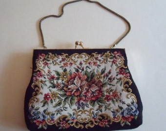 Vintage Black and Floral Faux Needlepoint Cloth Bag Chain Handle