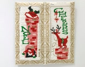 Vintage CHRISTMAS Towels Terry Cloth Set Santa Claus Reindeer Hostess Gift NOS New Old Stock