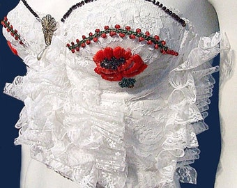 Embroidered Poppy Bustier, White Vintage Lace Ruffles, Upcycled, Embellished 34B White Bustier