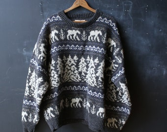 Vintage Wool Sweater Mens XL Gray and white With Moose and Fir Trees From Nowvintage on Etsy