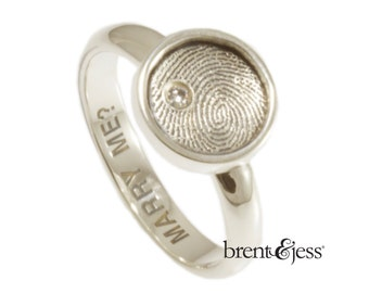 Fingerprint Ring Diamond Engagement Ring Sterling Silver Custom Signet Diamond Engagement / Proposal Ring