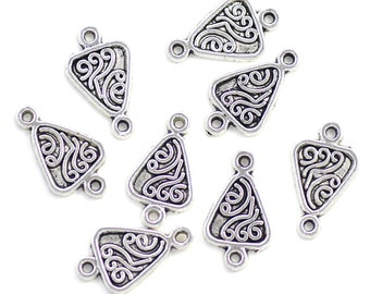 Decorated Triangle Connectors Silver Plated Pewter 20mm x 12mm - 8