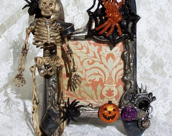 Fits 3x3 Embellished Picture Frame, Halloween Decoration, Steampunk Goth Skeleton Decor, Vintage Jewelry Statement Centerpiece Wedding Gift