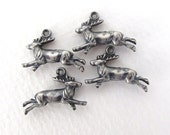 Vintage Deer Charm Stag Reindeer Animal Pendant Double Sided Antiqued Silver Metal Finding 19mm chm0496 (4)