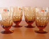 "Four Fostoria MESA- Amber water goblets 5 1/8"" Discontinued Actual: 1967 - 1974"