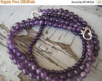 SALE Amethyst Deep Purple triple strand Lavender necklace