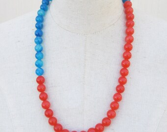 Sapphire Blue Juicy Orange Long Beaded Necklace, Color Block Beads
