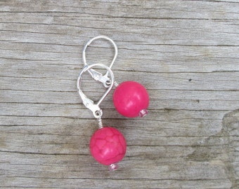 Hot Pink Bead Sterling Silver Drop Earrings