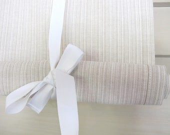 Neutral Stripe Taupe 36 Inch Long Stage Coach Blind Tie Up Curtain Swedish Roll Up Shade Tie Up Curtain Swag Balloon