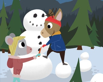 Mouse and Deer - Snowman