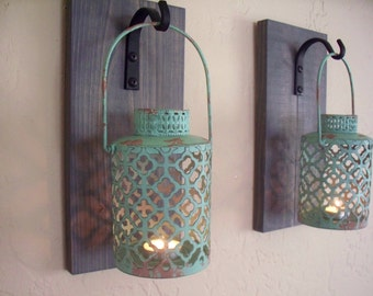 Rustic turquoise lantern set (2) wall decor, bedroom wall decor,  wall sconces, housewarming gift, wrought iron hook, rustic wood boards
