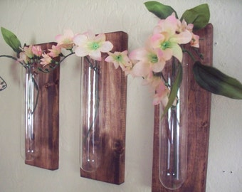 Glass beakers on wood boards wall decor, bud vase, kitchen decor, country decor, wedding gift, rustic decor, housewarming gift.