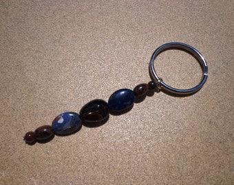 Key Ring Charm for Courage with Mahogany Obsidian, Smoky Quartz and Sodalite Gemstone Beads on Split Key Ring, Confidence Stones, Key Ring