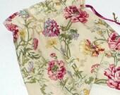 Garden Floral, Shoe Bags, Travel, Drawstring bags, Pale gold, Sage Green, Wine, Set of 2