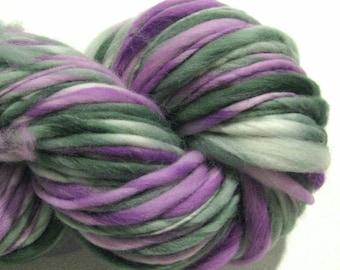 Thick and Thin Yarn Larkspur 130 yds purple green bulky handspun yarn handdyed merino wool blue yarn knitting supplies crochet supplies