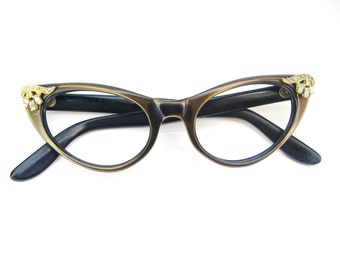 Vintage Bling Cat Eye Eyeglasses Sunglasses Frame