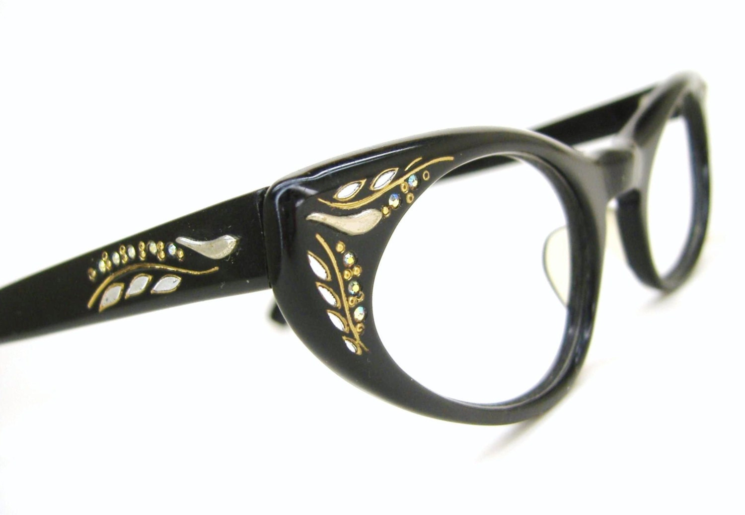 Glasses Frame Discoloration : Vintage 50s Rhinestone Cateye Eyeglasses Sunglasses Frame